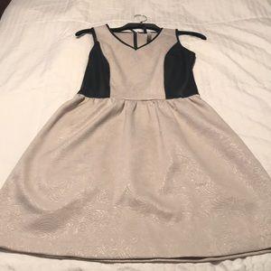 Tan And black sleeveless dress